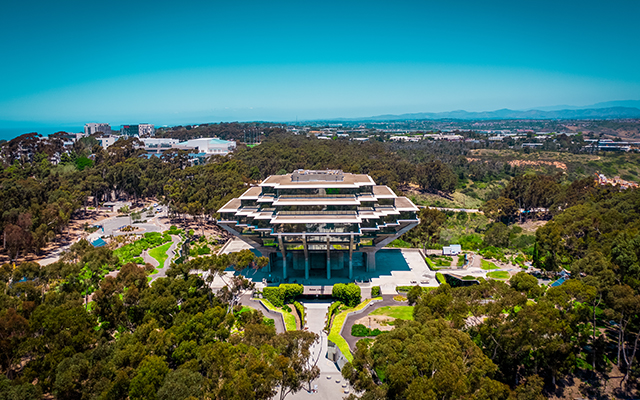 Aerial photo of UCSD's Geisel Library