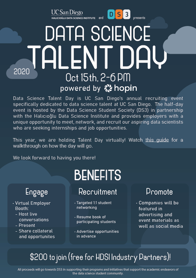 flyer with details for data science talent day at UC San Diego October 15 2020